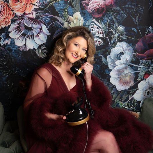 Kellie Frye Photographer self portrait wearing Catherine D'Lish robe and talking on vintage black phone
