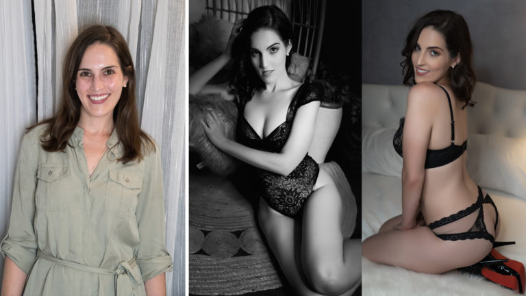 three images in one featuring a before photo of boudoir client then after photos of client posing with full makeup in lingerie