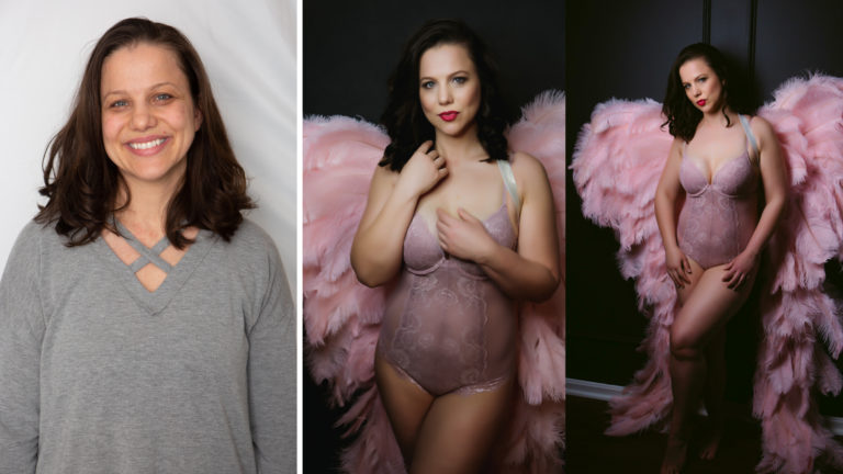 three images in one featuring a before photo of boudoir client then after photos of client posing with full makeup in pink angel wings and pinklingerie